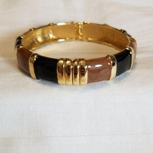 Brown Black Gold Enamel Bangle Bracelet